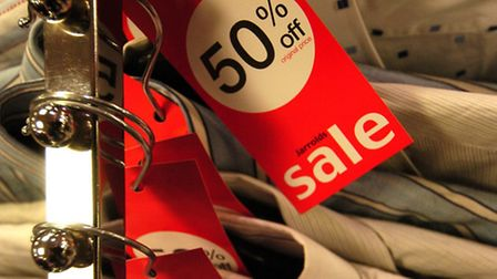 Sale shopping in Jarrolds the store in Norwich - 50 percent off tickets on clothing. Picture: James
