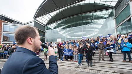 Flashback to the 2014 NUT teachers' strike - a rally outside the Forum in Norwich. Photo: Bill Smith