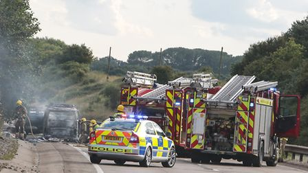 Emergency services were called to a vehicle fire on the southbound A11 between the Mulbarton slip ro