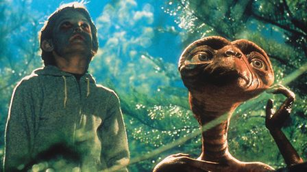 A scene from the sci-fi movie ET.
