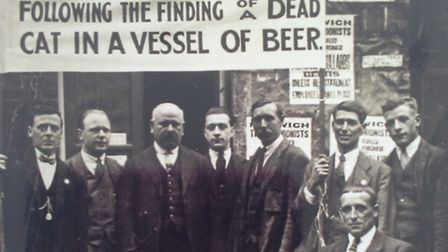 The strike at Bullards in Norwich. The man at the front (holding the poster) with the eye-patch was