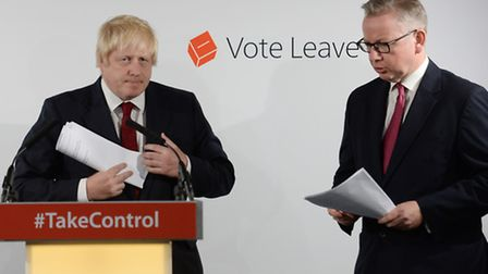 Boris Johnson and Michael Gove (right) hold a press conference at Brexit HQ in Westminster, London,