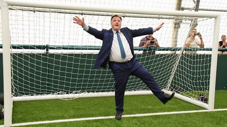 Norwich City chairman Ed Balls showed off his goalkeeping skills in a tour of the club's new trainin