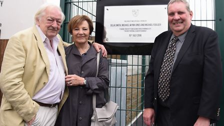 Delia Smith, Michael Wynn Jones and Michael Foulger by the plaque unveiled by Alex Neil on Friday at