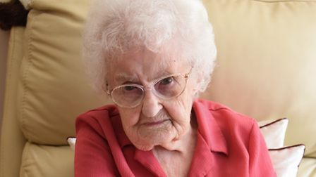 Pearl Capes, 93, after a cat attacked her, wounding her arm. Picture: DENISE BRADLEY