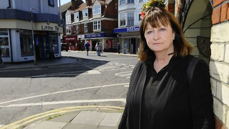 Judy Oliver, Cabinet member of NNDC in Sheringham town centre. Picture: MARK BULLIMORE
