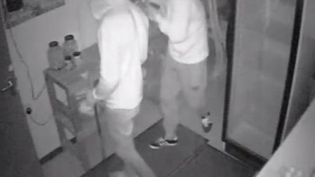 Two burglars caugh on CCTV breaking into a out building in Shelfanger, near Diss. Picture: Submitted