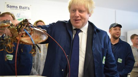 Boris Johnson visits the Same Cole Food Group in Lowestoft during a visit to the town during the Vot
