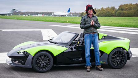 Chris Evans in Zenos Car's E10S on Top Gear. Picture: BBC/Mark Yeoman