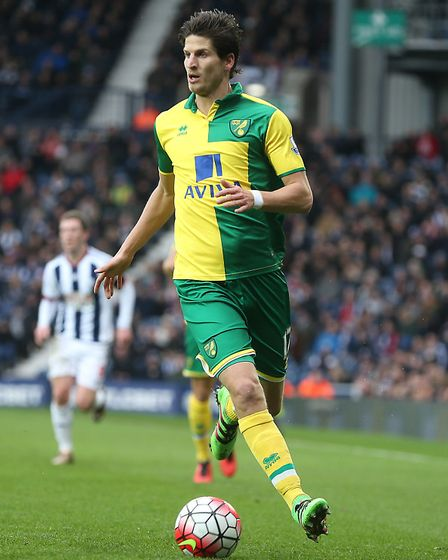 Timm Klose of Norwich in action during the Barclays Premier League match at The Hawthorns, West Brom