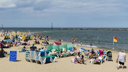 Sea Palling beach where a man drown after being caught in a ripe current on 23rd July 2016. Picture