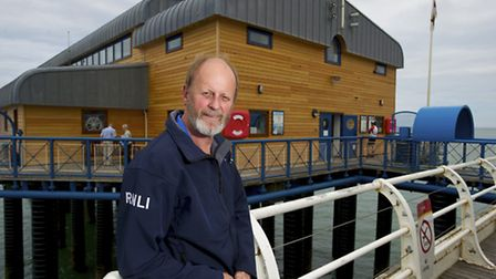 New cladding on the Cromer Lifeboat station by Blyth and Sons, pictured is Richard Leeds.Picture: MA