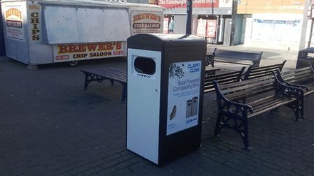 A futuristic solar-powered, self-compacting litter bin has landed in Great Yarmouth's Market Place a
