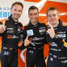 Alex Brundle celebrates pole position with his team-mates but it all unravelled on race day. Pictur