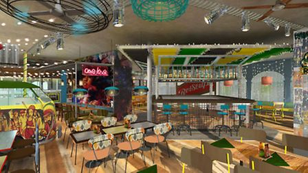 Artist impression of what the Turtle Bay Caribbean restaurant and bar will look like in Norwich. Pic