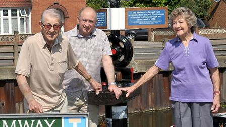 Unveiling of Outwell Tram momento at old tram depot Basin Road, Outwell. also photo exhbition at St