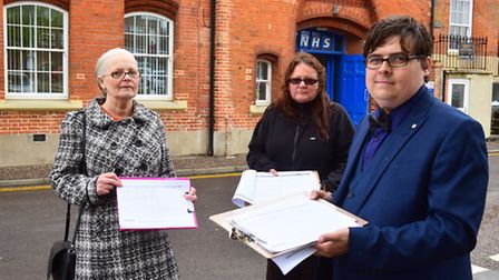 Protest against the closure of Greyfriars Medical centre, Yarmouth.Tony Crone, Alison Keating and Ch