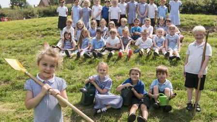 Pupils at Watton Infants School have created a new garden as part of their Gardening Club. Picture: