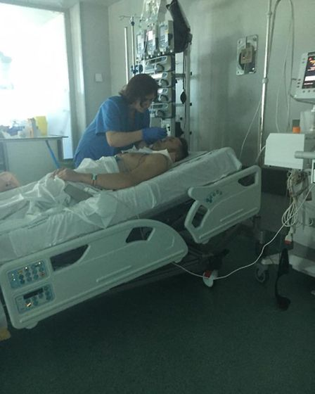 James recovering in hospital. Pictures submitted