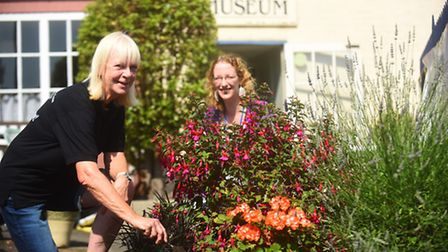 Digging deep in the garden at True's Yard are (L) Margaret Macdougall and Rebecca Reed. Picture: Ian