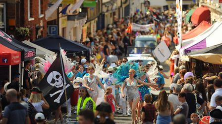 The pirate themed Wymondham Carnival procession makes its way through the town. Picture: DENISE BRAD