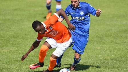 Lowestoft Town (blue/ white) v Braintree Town at Crown Meadow.Pre Season Friendly.Andrew Fisk.Pictur
