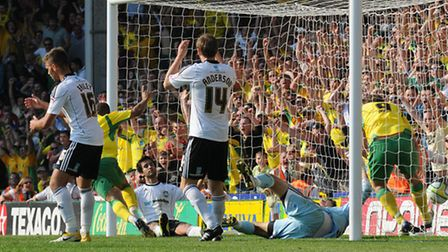 Norwich City v Derby at Carrow Road. Simeon Jackson score his third and wins the game.Photo by Simon