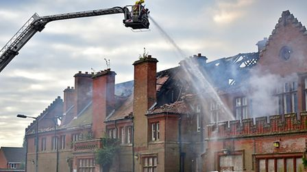 Fire at Little Plumstead old hospital site.Picture: ANTONY KELLY
