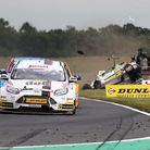 A dramatic moment in race three as Hunter Abbott crashes out. Pictures: RICHARD STYLES
