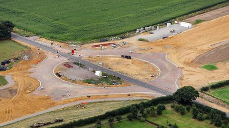 Aerial picture of the work on the Fir Covert Road roundabout. Pic: Mike Page