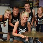The drummers before the start of their 80 hours attempt at the world record for the longest running