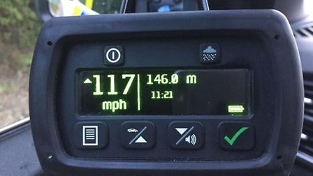 A driver was caught doing 117mph on the A11 at Wymondham. Picture Twitter/SgtChrisHarris.