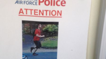 An RAF police poster at the RAF Marham airbase following an attempted abduction of an RAF officer in