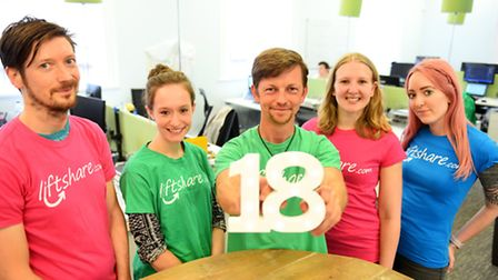 Liftshare celebrating its 18th birthday. Founder Ali Clabburn (centre) with staff.Picture: James Bas