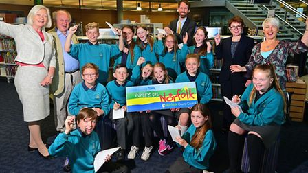 Launch of Write on Norfolk at Millennium Library. Pupils from Sprowston Junior School with judges, l