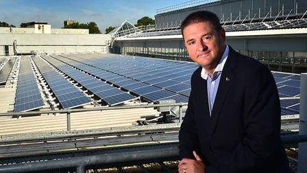 Solar panels on the roof of Intu Chapelfield shopping centre. General manager Paul McCarthy.Picture: