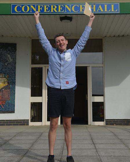Zac Green celebrates getting an A in drama and an A* in english literature. Picture: Chris Bishop
