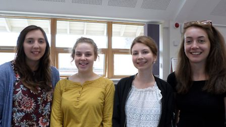 Year 13s Poppy Bunting, Tina Bush, Abby Miller & Elise Sorrell after collecting their A-Level Result