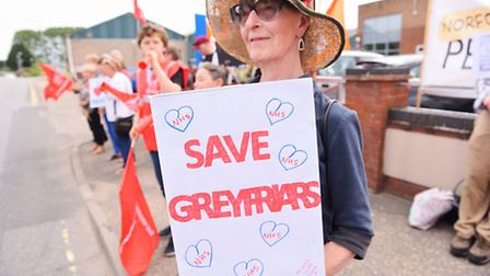 Protest outside the NHS Great Yarmouth and Waveney Clinical Commissioning Group (CCG) by people oppo