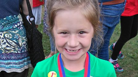 Seven year old Alice Hall won the gold medal in the 100m at the East of England Children and Young P