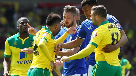 Tempers flare towards the end of the Sky Bet Championship match at Carrow Road.