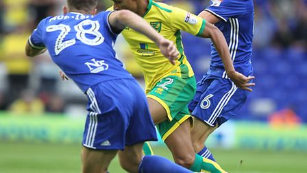 Jacob Murphy atttempts to carry the fight for Norwich City at St Andrew's. Picture by Paul Chestert
