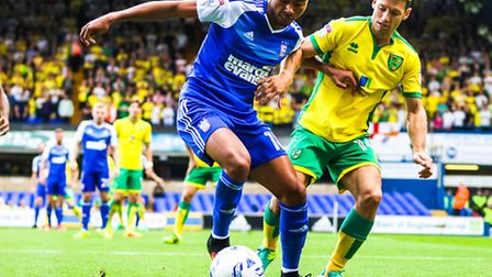 Grant Ward battles with Wes Hoolahan during the derby clash at Portman Road. Picture: Steve Waller