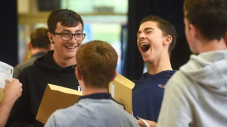 Students checking their GSCE results at Alderman Peel High School, Wells. Picture: Ian Burt