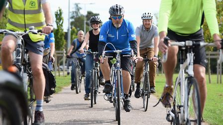 Cyclists ride together at Heartsease Recreation Ground to celebrate the improvements to the Norwich