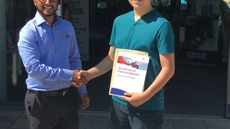Teenage David Castleman has been given a Gold Award by The Royal Life Saving Society for rescuing a