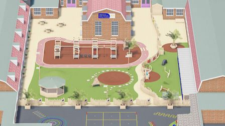 Artist's impression of the new playground at Great Yarmouth Primary Academy.August 2016.