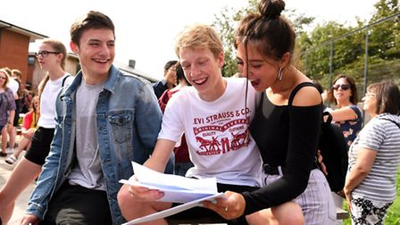 Students receiving their grades during A level results day at East Norfolk Sixth Form College in Gor