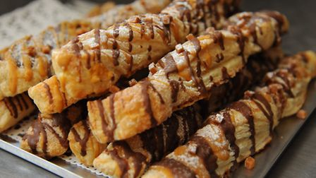 Chocolate caramel twists at the Crusty Corner Bakery, a local craft bakery using traditional methods