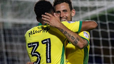 Tony Andreu of Norwich City U23 (right) celebrates after scoring during the Checkatrade Trophy match